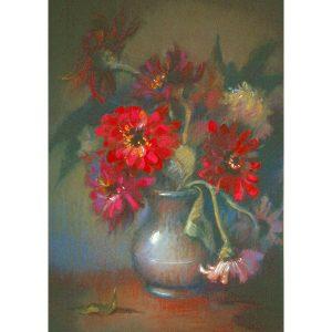 Zinia silver vase pastel